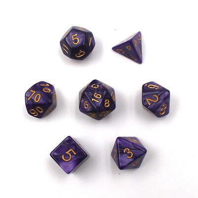 COLOR FOR PURPLE SET of 7 Sided Gem Dice Die For RPG Dungeons & Dragons DND D&D