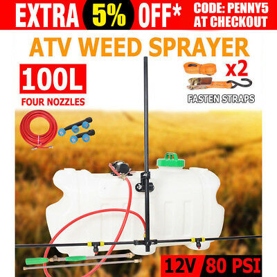 100L ATV Garden Weed Sprayer Sopt Boom 4 Nozzles Unit Chemical Farm Water Pump