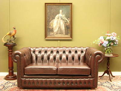 Australian Made Classic Chesterfield 2 Seater Sofa Couch #2 Full Leather In Vgc