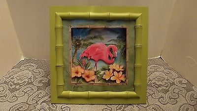 Pink Flamingo Framed 3D Wall Art/Picture signed Jane Shasky