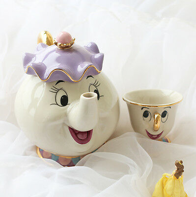 2017 Beauty And The Beast Teapot Cartoon Mug Mrs Potts Chip Tea Pot Cup Set XMAS