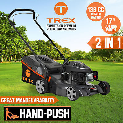 "TREX Lawn Mower Hand Push 139cc 17"" Lawnmower 4 Stroke Catch Mulch 2 in 1 PICKUP"