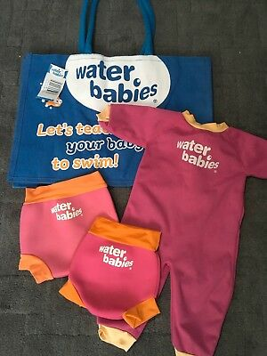 Water Babies Set Bag Warm Wetsuit Swimsuit 6-12 And Happy Nappies Size S M
