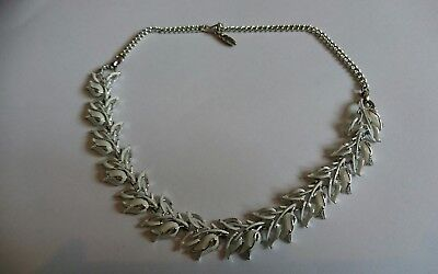 vintage white enamel necklace