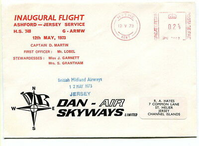 First Flight 1973 Ashford - Jersey Dan-Air FLOWN cover