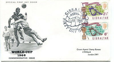 Gibraltar 1966 World Cup set on illustrated first day cover to London
