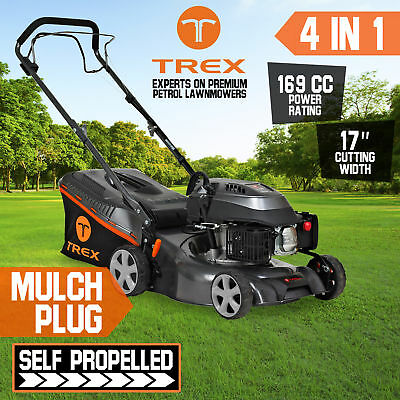 "NEW TREX Lawn Mower Self Propelled 169cc 17"" Lawnmower 4 Stroke 2 in 1 Freight"
