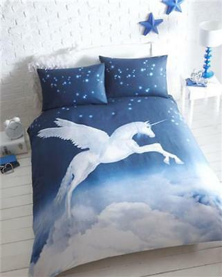 UNICORN SINGLE DUVET SET mystical bedding fantasy blue night sky quilt cover
