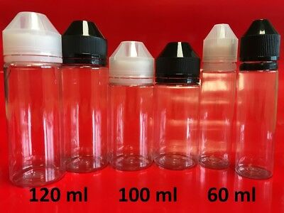 60, 100, 120 ml Chubby Squeeze PET Unicorn E-Liquid Bottles; Packs of 5,10,20,40
