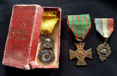 WW1 Original set French Medals 1914-1918 Military Medal box Volunteer Combatant