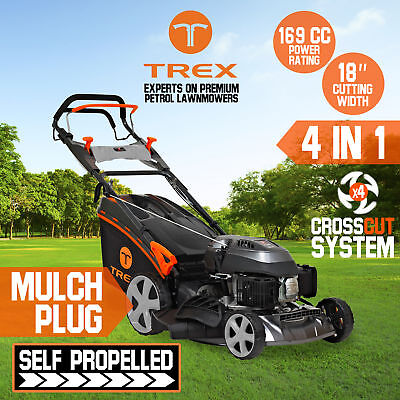 "NEW TREX Lawn Mower Self Propelled 169cc 18"" Lawnmower 4 Stroke Catch Mulch"