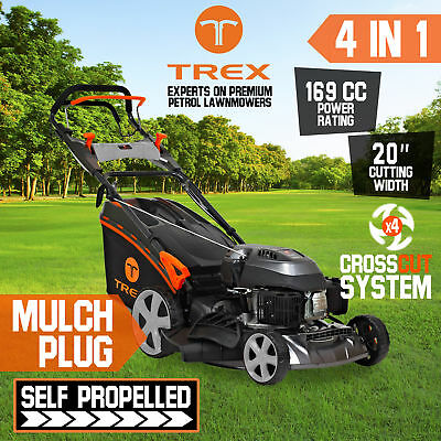 "NEW TREX Lawn Mower Self Propelled 169cc 20"" Lawnmower 4 Stroke Catch Mulch"