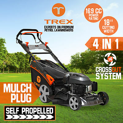 "TREX Lawn Mower Self Propelled 169cc 18"" Lawnmower 4 Stroke Catch Mulch Freight"