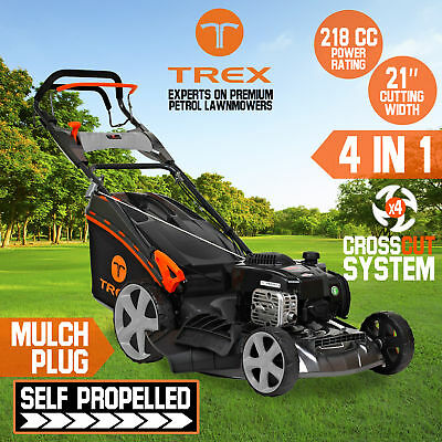 "TREX Lawn Mower Self Propelled 218cc 21"" Lawnmower 4 Stroke Catch Mulch Freight"