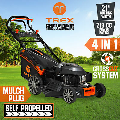 "NEW TREX Lawnmower Self Propelled 218cc 21"" Lawnmower Catch Mulch Electric Start"