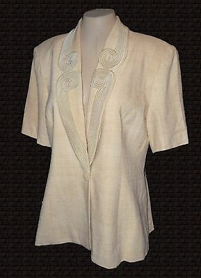 Vintage, Blazer, Mirage, Flaxen Linen short-sleeves Piping-Applique, 14