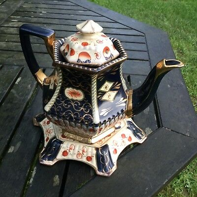 Antique English Imari Teapot & Trivet Stand, Hand Painted Gaudy Welsh Style