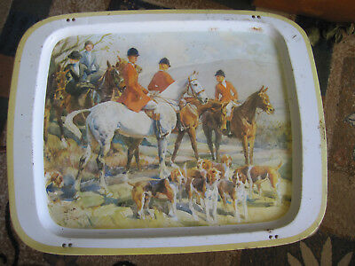 Vintage TV Table Tray Camping Caravan Horses & Hounds Scene