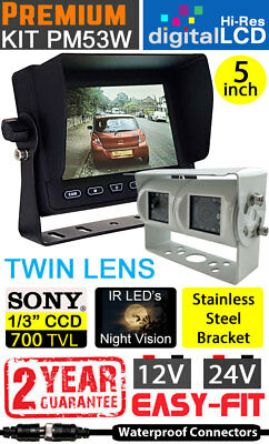 "Easy-Fit Hi-Res 5"" Dash + White Twin Lens Reversing Rearview Camera Kit - PM53W"