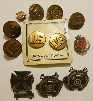 Lot of Vintage & Antique Military Pins, Insignia, etc. Various Conditions