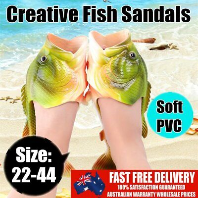 Anti skid Beach Fish Slippers Breathable PVC Handmade Funny Fish Sandals LOT OK