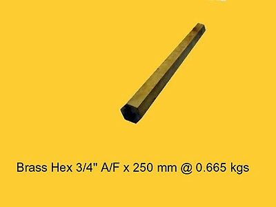 "Brass Hex 3/4"" A/F x 250 mm-Lathe-Steam-Mill-OG"