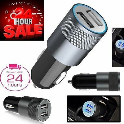 Mini USB Dual Port 12-24V Universal In Car Socket Lighter Charger Adapter 2.4A