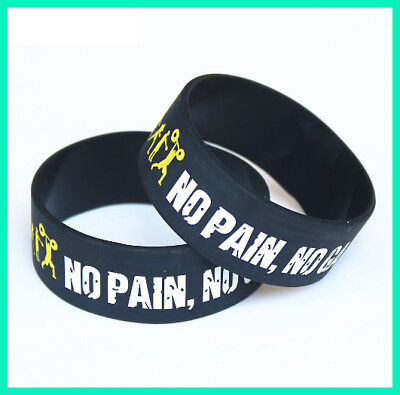 Everybody Fit No Pain No Gain Silicone Wristband Motto Rubber Bracelets & Bangle