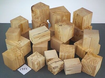 23 English Spalted Beech wood turning or carving squares / cubes.  1356