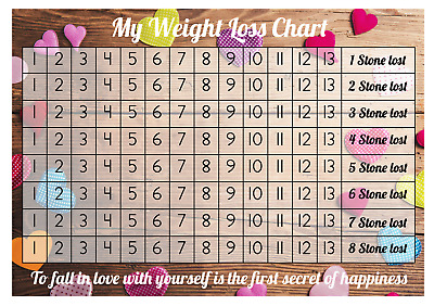Weight Loss Chart - 8 stone - 2 Sheet of stickers - Coloured Hearts - Slimming