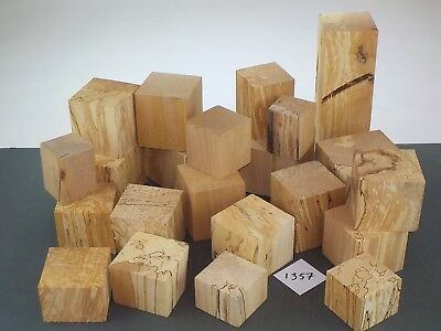 22 English Spalted Beech wood turning or carving squares / cubes.  1357