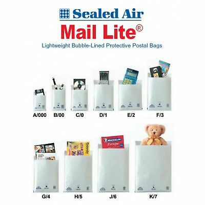 Mail Lite Padded Envelopes A/000 B/00 C/0 D/1 E/2 F/3 Discounted Inc Vat Free Pp