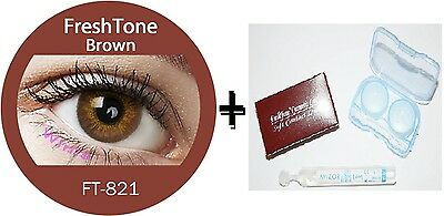 Contact Lenses Colored  FRESHTONE® Brown + Case + AVIZOR solution 10 ML