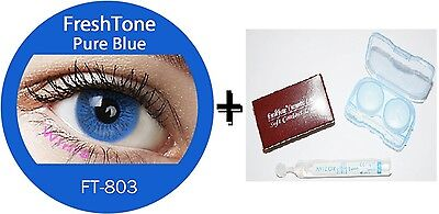 Contact Lenses Colored  FRESHTONE® Pure Blue + Case + AVIZOR solution 10 ML