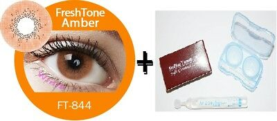 Contact Lenses Colored  FRESHTONE® Amber + Case + AVIZOR solution 10 ML