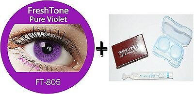 Contact Lenses Colored  FRESHTONE® Pure Violet  + Case + AVIZOR solution 10 ML