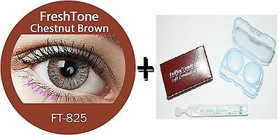 Contact Lenses Colored  FRESHTONE® Chestnut Brown + Case + AVIZOR solution 10 ML