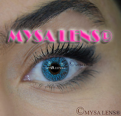 Colored Contact Lenses Kontaktlinsen  Blue I-327 Lens Color 1 Year MYSA LENS