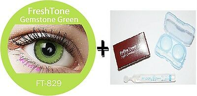Contact Lenses Colored  FRESHTONE® Gemstone Green + Case + AVIZOR solution 10 ML