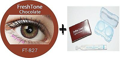 Contact Lenses Colored  FRESHTONE® Chocolate + Case + AVIZOR solution 10 ML