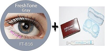 Contact Lenses Colored  FRESHTONE® Gray + Case + AVIZOR solution 10 ML