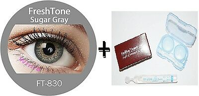 Contact Lenses Colored  FRESHTONE® Sugar Gray + Case + AVIZOR solution 10 ML