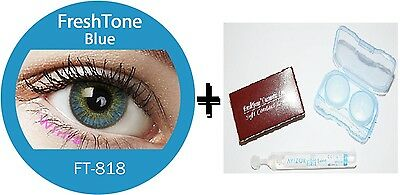 Contact Lenses Colored  FRESHTONE® Blue + Case + AVIZOR solution 10 ML