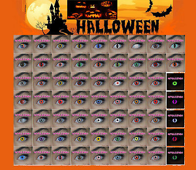 Crazy Coloured Contact Lenses halloween + Blood Teeth + Tattoo Scar+ Case Lens