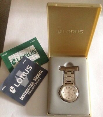 Nurse's Lorus (by Seiko) Quartz Fob Watch (White Dial) In Box Leaflets Included