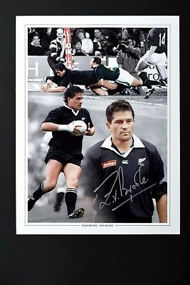 SALE ZINZAN BROOKE NEW ZEALAND RUGBY HAND SIGNED PHOTO GENUINE + COA - 16x12