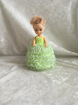 VINTAGE RETRO LIME GREEN KITSCH CROCHET DOLL ( like toilet roll) STRING HOLDER
