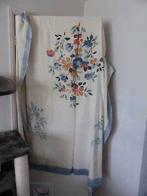 Vintage cotton/linen? throw cream with blue border and flowers