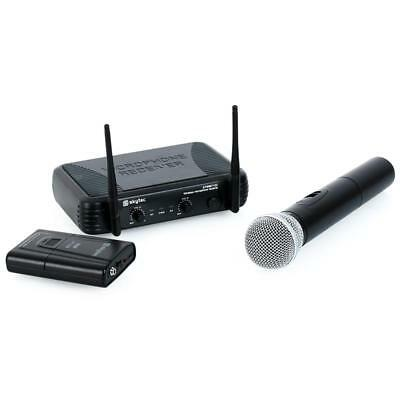 SKYTEC VHF WIRELESS MICROPHONE PAIR HAND HELD HEAD SET 2x MIC 50 M SPEECH VOICE
