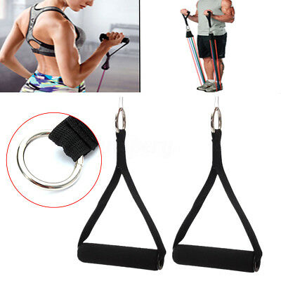 Exercise Gym Tricep Rope Cable Attachment Bar Dip Station Resistance Band Handle